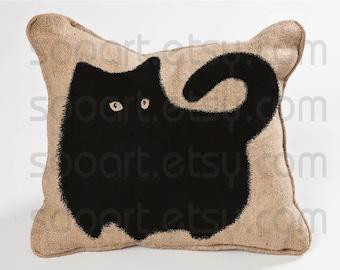 Super Black Cat -Digital Image Sheet -SooArt Original Illustrate Drawing  Can Print on Pillows, t-shirts, lampshades  ETC.