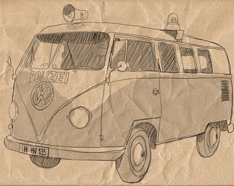 Vintage Volk Van -Digital Image Sheet -SooArt Original Illustrate Drawing  A4 Print on Pillows, t-shirts, scrapbook, lampshades  ETC.v