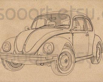 Classic volkswagen beetle -Digital Image Sheet -Original Illustrate Drawing  A4 Transfer Print Pillows, t-shirts, scrapbook, lampshades