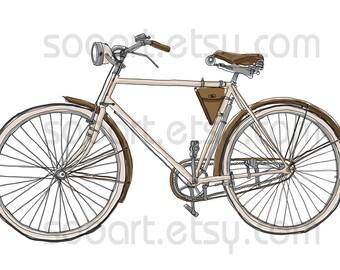 vintage bicycle -Digital Image Sheet -Original Illustrate Drawing  A4 Print transfer on Pillows, t-shirts, scrapbook, lampshades  ETC.v