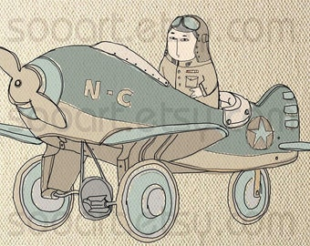 vintage The pilot  -Digital Image Sheet -Original Illustrate Drawing  A4 Print transfer on Pillows, t-shirts, scrapbook, lampshades  ETC.v