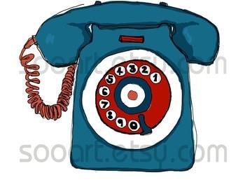Retro Telephone  -Digital Image Sheet -SooArt Original Illustrate Drawing  A4 Print on Pillows, t-shirts, scrapbook, lampshades  ETC.