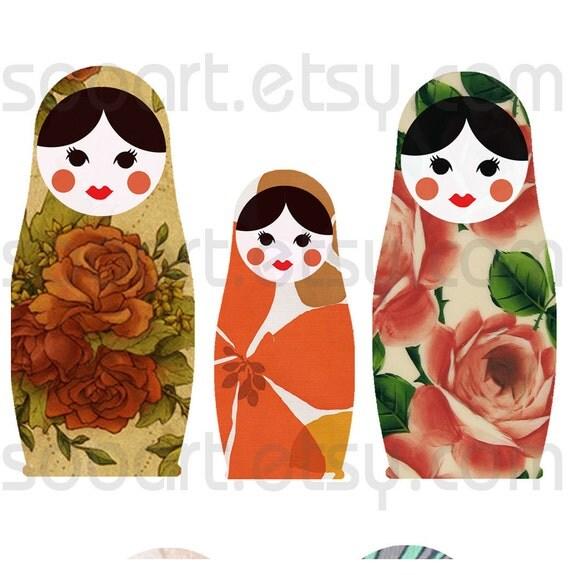 Vintage Wallpaper Russian Dolls -Digital Collage Sheet A4 Mixed Media Good for Scrapbook, Art, ACEO, ATC, Pendant etc.