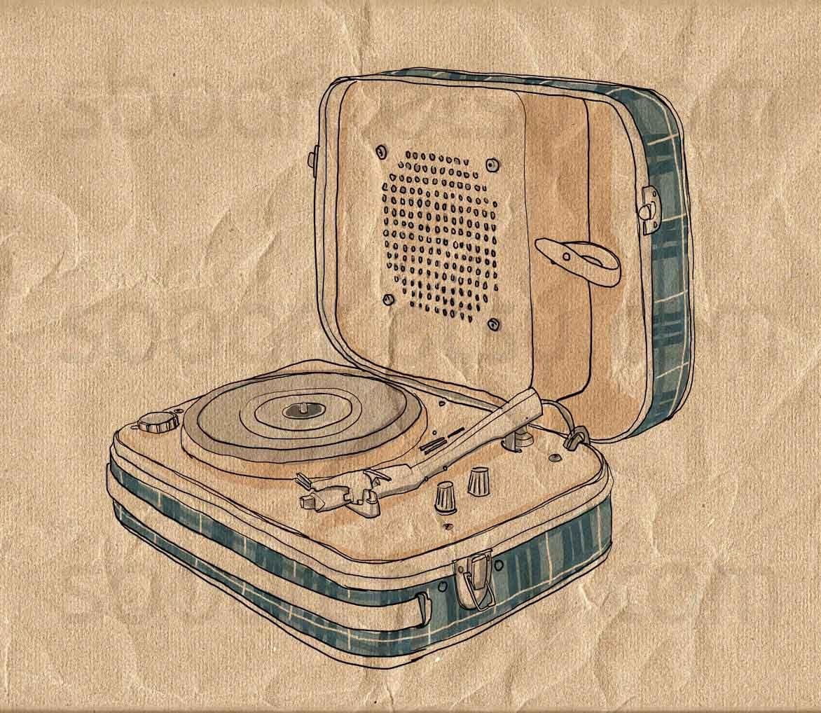 Vintage turntable digital image sheet original illustrate - Achat platine vinyle vintage ...