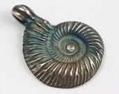 Original Philip Crow Silver Ammonite with Tourmaline Talisman Pendant