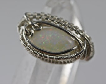Opal Wire Wrapped Talisman Amulet Ring Unique Original Design by Philip Crow
