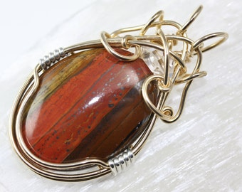 Unique Handmade Jewelry - Wire Wrapped 14Kt Gold Pendant by Philip Crow - Tiger Iron with Herkimer Diamond