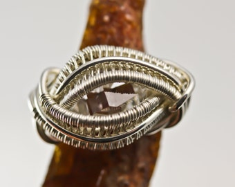 Unique Gifts - Original Philip Crow Sterling Silver Amulet Ring - Herkimer DIamond - Natural Crystal Wire Wrapped Jewelry