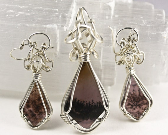 Original Philip Crow Sterling Silver Talisman Earring and Pendant Set - Amethyst Sage Chalcedony with Dendrites and Herkimer Diamond