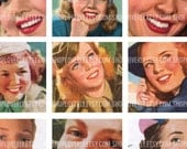 1 Inch Square Images of Victorian to 50s era Women - Digital Collage Sheet No. 102