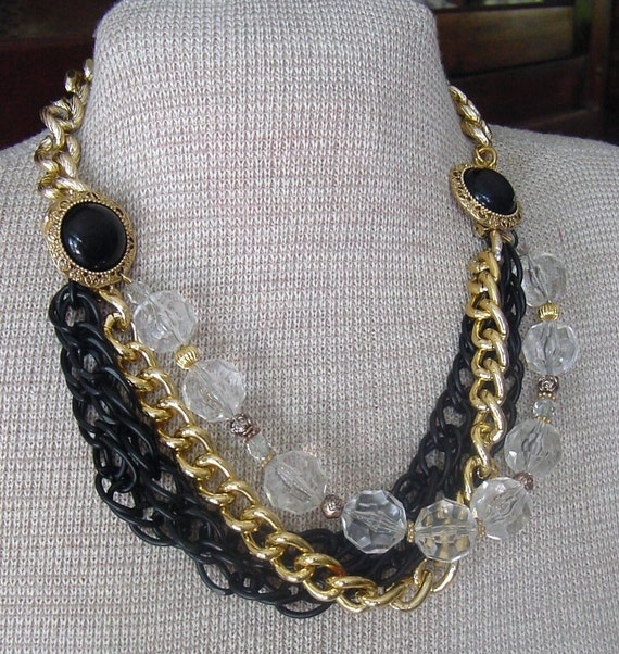 Black and Gold Chain, CRYSTAL Beads - BIB NECKLACE