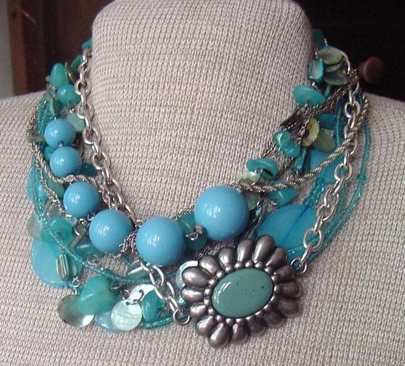 Multi Strand TURQUOISE Silver CHAIN - STATEMENT Necklace - Blue Persuasion