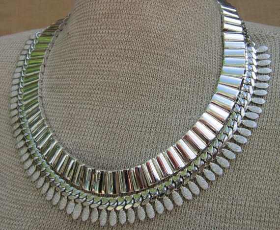 Multiple Row Silver Chain - Repurposed Vintage Necklace - Statement Bib