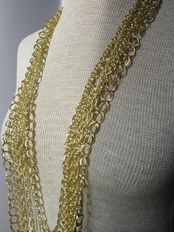 Long Gold Multiple Chain -  Fleur De Lis - Statement Necklace