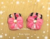 Toe nails, pedicure, big bows, kawaii nails, japanese fake nails set for big toes