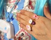 Kawaii ring, lolita, fairy kei, bear ice cream cone ring
