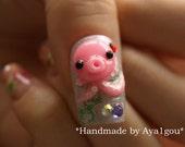 Octopus, squid, 3D nails, sea animal, nautical, kawaii nails, Japanese nail art, acrylic nail, glue on nail, cute nail, nail decal