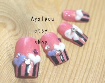 Kawaii nails, 3D nails, Japanese nails, Yumiko, bows, hearts on french tips
