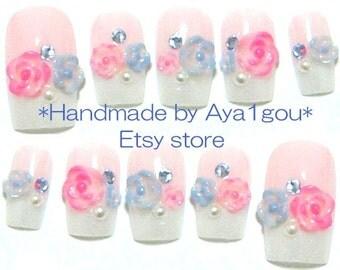 Wedding, bridal nails, party nails, kawaii nails, 3D nails, french nails, flowers, pastel fashion
