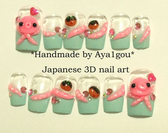 Octopus, takoyaki, squid, tentacle, mint nails, kawaii, deco nail, Japanese 3D nail, Harajuku, novelty, food nail, alternative, pastel,