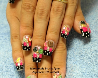 Decora nails, rockabily, novelty, kawaii nails, nail set, 3D nails, polka dot, bows, pink, black, Harajuku, kyary, Japanese nail, pop kei