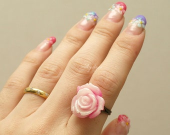 Rose cabochon ring, antique toned, glitter, resin
