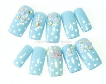 Summer nail, blue nail, forget me not, flower, 3D nail art, Japanese 3D nail, polka dot, deco nail, sweet lolita, Jfashion, gel nail,