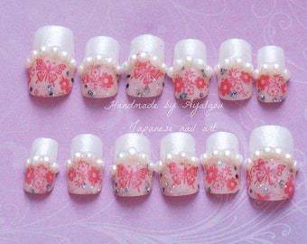 Nails, wedding nail, bridal nail, kawaii nail, butterfly, white tips, french nails, pearl, glittery, Japanese nail art, nail set, deco nail