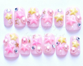 Holiday nail, Christmas nails, kawaii nail, Japanese 3D nail, pink, stars, pearl, fairy kei, sweet lolita, lolita accessory, pastel