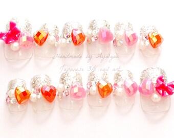 Deco nails, decoden, kawaii nail, 3D nail, silver glitter, glitter french tips, french nails, cute nail, nail set, heart, big bow, Harajuku