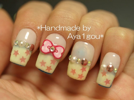 Kawaii nails, 3D nails, fairy kei nails, pastel nails, french nails, cute nail art, nail bow, deco nails, Japanese 3D nail, Harajuku fashion