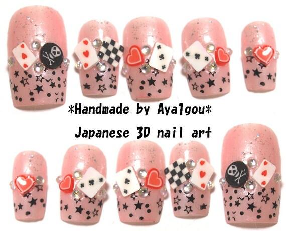 Alice in wonderland, false nail, press on nails, fake nails, pink nail, card game, stars, glittery, cute nails, Japanese nail, 3D nail,