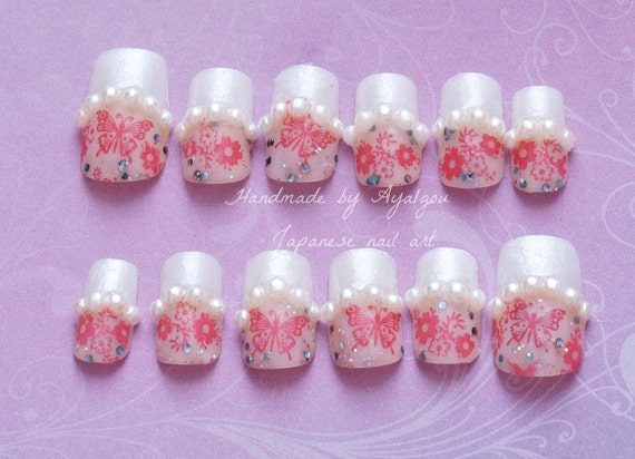 Nails, wedding nail, bridal nail, kawaii nail, butterfly, white tips, french nails, pearl, glittery, Japanese nail art, nail set, deco nail