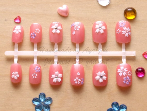 Japanese 3D nails, pearly pink, sakura, cherry blossoms, 22pieces, SMALL and very short