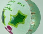Personalized and customized hand painted glass ornament (large) - Pink holly
