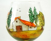 Hand painted glass - Red wine glass  - Village Provencal collection