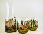 Carafe set - Hand painted glass carafe with two wine glasses - Village Provencal collection