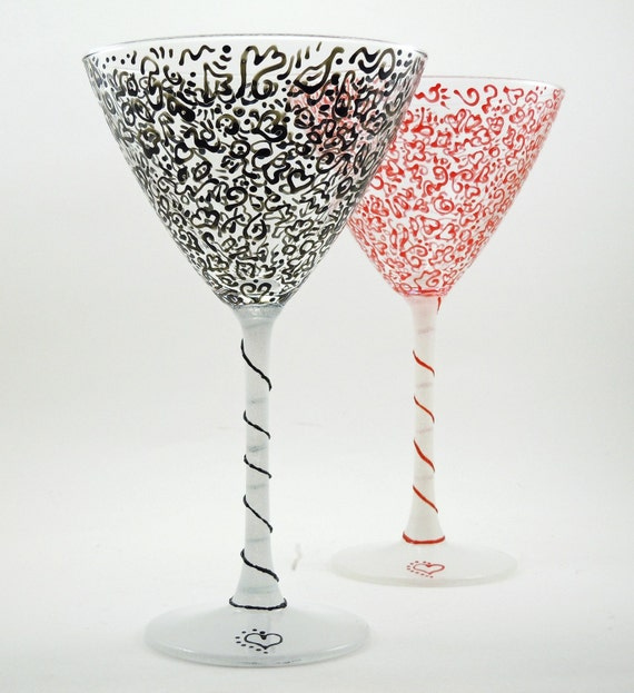 Martini glasses - Set of 2 hand painted cocktail glasses - Red and black lacy design