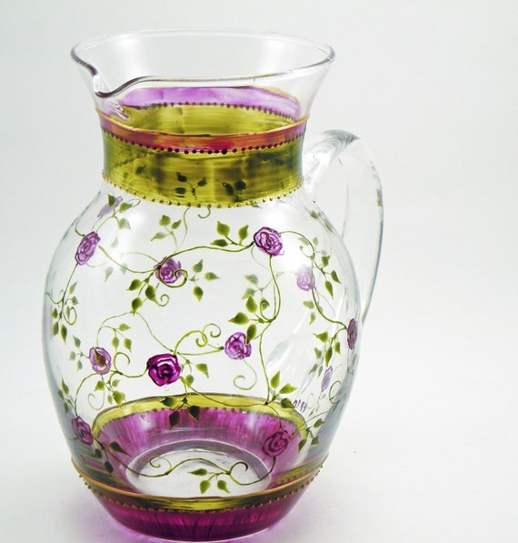 Petites roses - hand painted glass pitcher