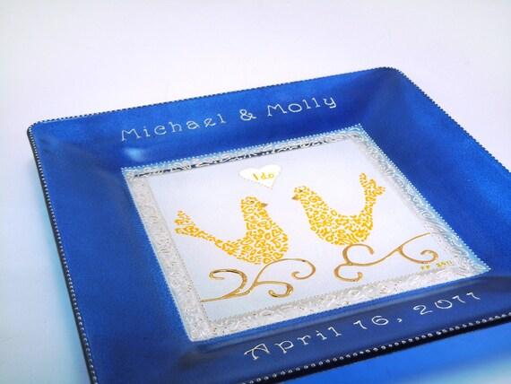 Hand painted custom personalized wedding plate - Royal blue & saffron yellow birds