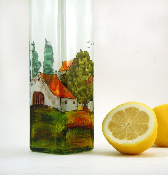 Painted oil bottle - Hand painted glass dispenser for oil, vinegar, soap or detergent - Village Provencal collection