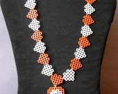 Plastic Canvas Necklace - Red, Pale Pink and White Hearts