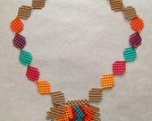 Plastic Canvas Necklace - Fall Leaves
