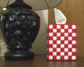 Boutique Tissue Box Cover - Red and White Checker Pattern