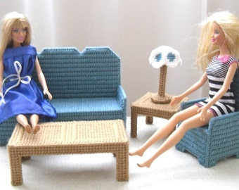 Fashion Doll Living Room Set - Blue Grey