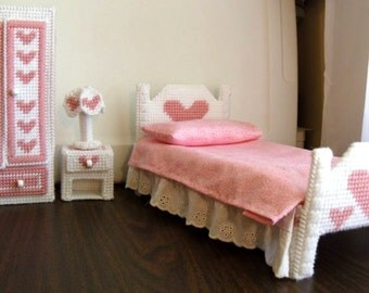 Fashion Doll Bedroom Set - White with Pale Rose