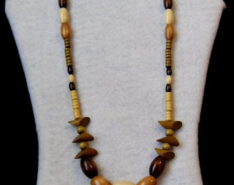 Necklace - Three Shades Wooden