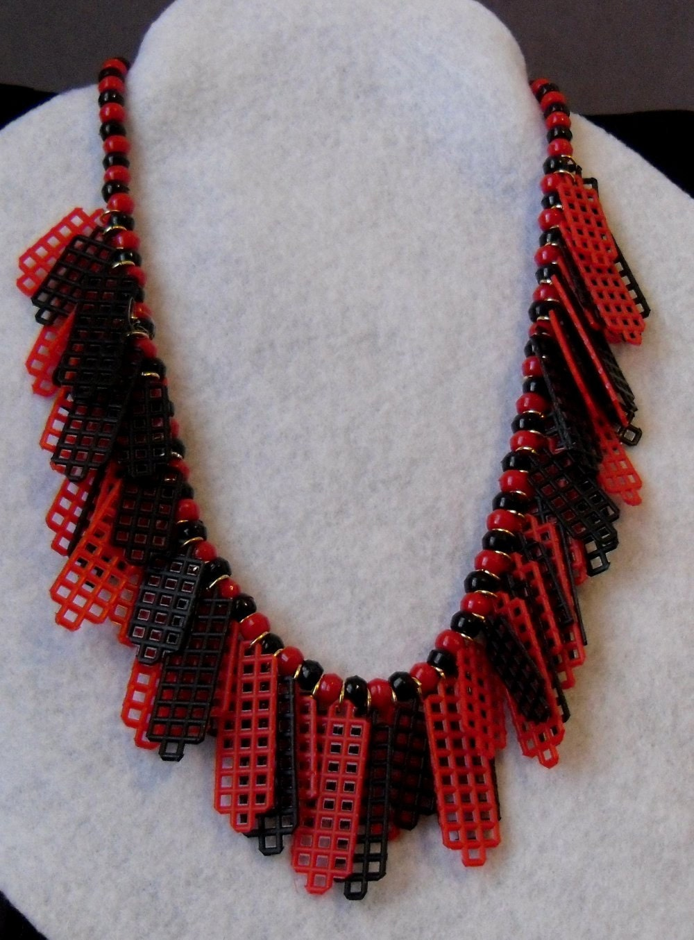 Plastic Canvas Necklace Red And Black