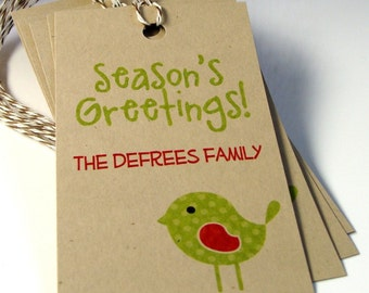 Season's Greetings Bird Personalized Christmas Tags or Package Labels (Qty. 10)