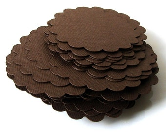 """24 Round Scallop Tags in Brown (chocolate) 2.5"""" for Scrapbooking, Favor Tags, Cupcake Toppers"""